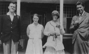 Jessy Mair with Professor Arnold Plant and Professor Lionel Robbins and an unidentified woman, 1920s
