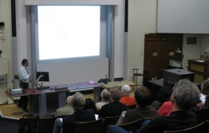 Norman Biggs lecturing at the colloquium in May 2007