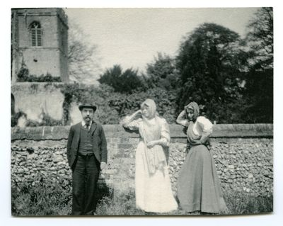 Sidney and Beatrice Webb with Charlotte Shaw outside Ayot St Lawrence Church, 1908 (Ref: Shaw Photographs 1/16/1568)