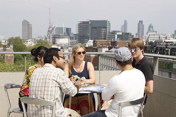 Students on NAB roof terrace. LSE/Nigel Stead