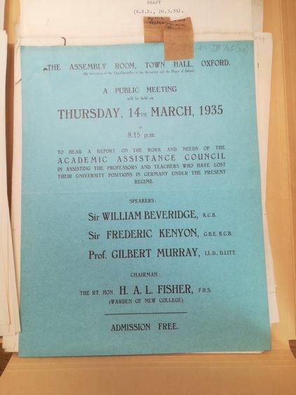 Flyer for AAC public meeting, 1935. Beveridge/9a/45/7. LSE