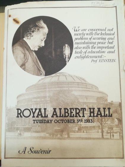 Souvenir programme for Einstein at the Albert Hall, 1933. Beveridge/9a/46/3. LSE