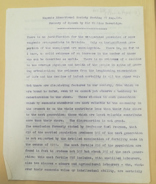 Eugenic Educational Society meeting August 1924. summary of a speech by William Beveridge. LSE Library