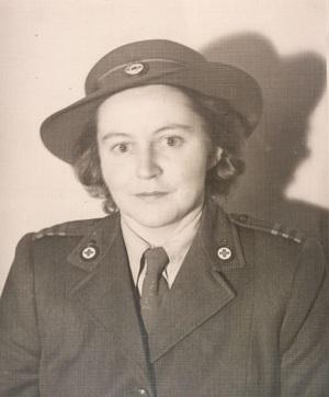 Mernie Yeomans in Red Cross uniform. Jane Miller
