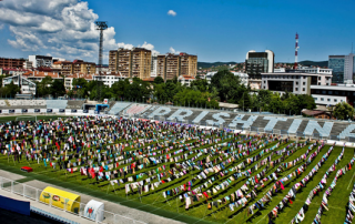 'Thinking of You' art installation in the football stadium of Prishtina, Kosovo, 2015. Photocredit: Artist Alketa Axafa-Mripa