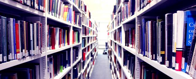 Bookshelves in the LSE Library