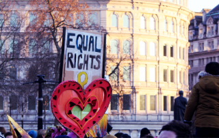 Protesters in London holding up a banner saying 'equal rights'