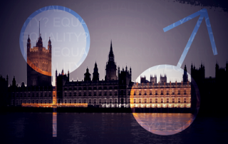 The female and male gender symbols superimposed over an image of the Palace of Westminster