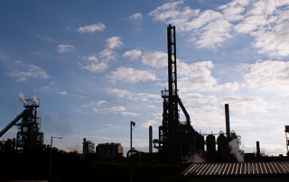 Port Talbot Steel Works in South Wales silhouetted in the evening sun