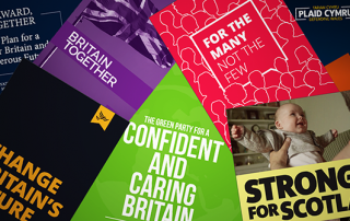 Images of front cover of political party manifestos from 2017 general election