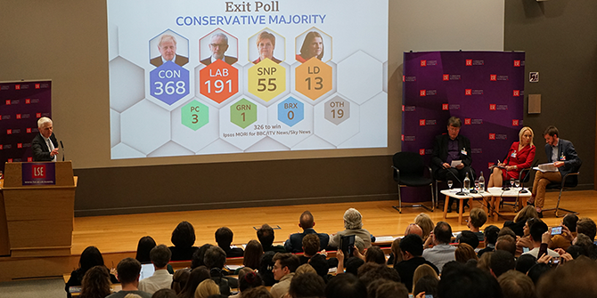 Photo of the stage and crowd at LSE Election Night 2019