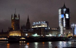 Photo of the Houses of Parliament on the evening of 31 January 2020 as the UK prepares to leave the EU at 11pm.