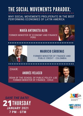 """A poster for the LSESU event """"The social movements paradox: Why social movements proliferate in the best performing economies of Latin America"""""""
